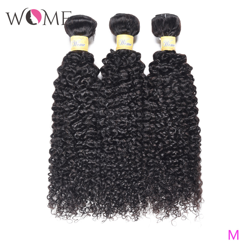 WOME Brazilian Kinky Curly Human Hair Bundles Jerry Curls 1/3/4 Bundles 10-26 Inches Natural Color Non-remy Hair Extensions