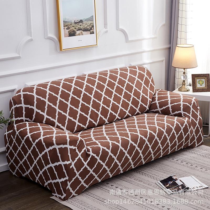 European style Simple Geometric lattice pattern Slipcover Elastic all-inclusive sofa cushion Universal cover