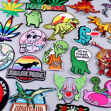 Diy Animal Patches For Jackets Alien/Clown Punk Embroidered Patches For Clothing Sewng Applique Patch Iron On Patch On Clothes