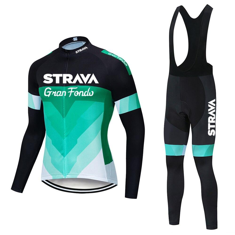 2020 STRAVA autumn long sleeve Cycling jersey Set bib pants ropa ciclismo bicycle clothing MTB bike jersey Uniform Men