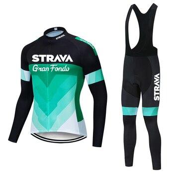 STRAVA-Conjunto de jersey de ciclismo de manga larga para hombre, ropa de...