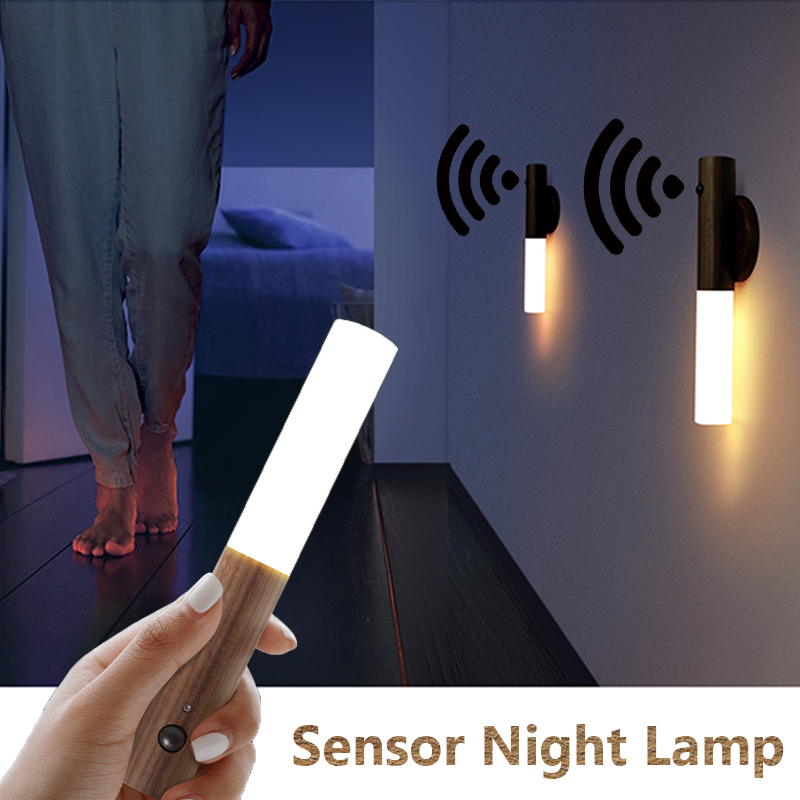 2020 LED Infrared Sensor Photosensitive Sensor Night Light Wireless USB Rechargeable Night Lamp For Bedside Wardrobe Wall Lamp