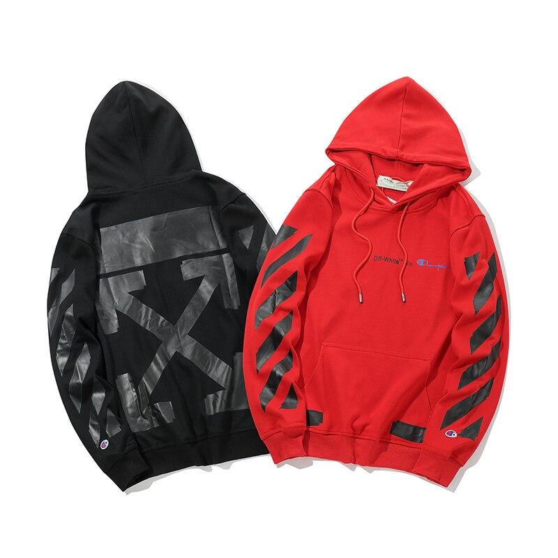 Черная стрела 19ss Off White OW для мужчин и женщин для влюбленных осень зима хлопок мода уличная куртка с капюшоном Толстовка