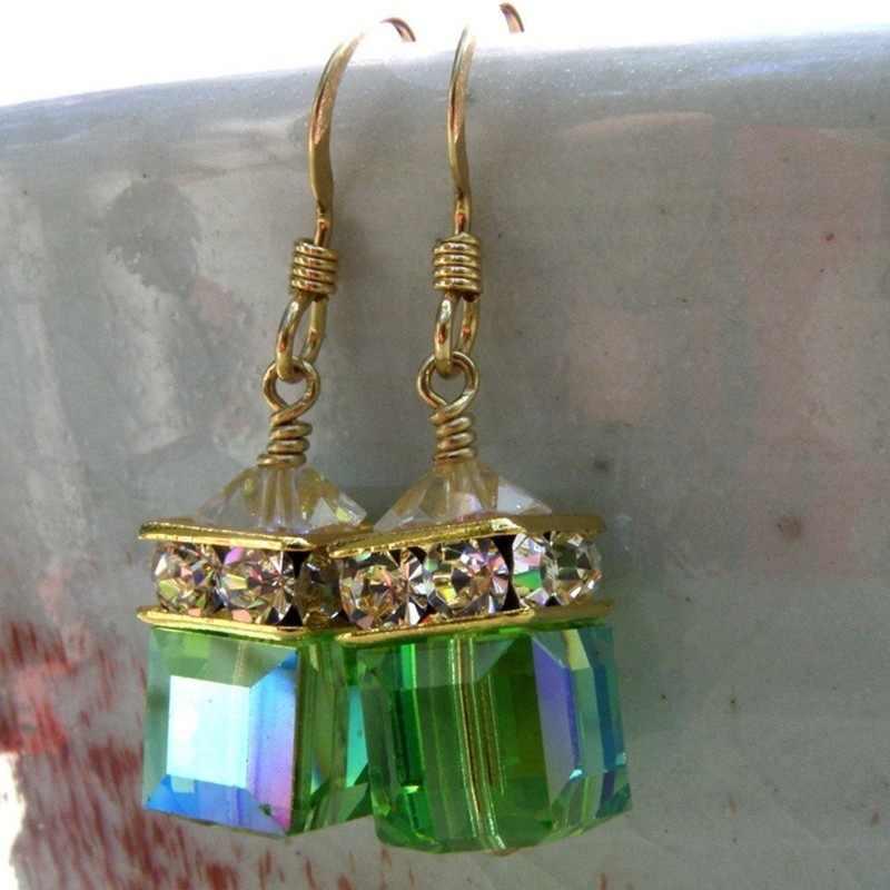 Verde Zircon Dangle Brincos para As Mulheres Da Moda Jóias de Casamento do vintage Brincos Declaração de Brincos De Cristal Queda de Noivado Presentes