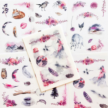 6 Sheets/Pack Mystery Forest Area Sticker Adhesive Craft Stick Label Notebook Computer Phone DIY Decoration - discount item  15% OFF Stationery Sticker