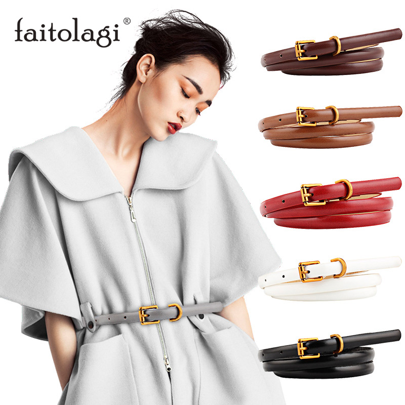 Thin Leather Ladies Belt For Dress Black Brown Women Waist Belt With Metal Buckle High Quality Straps Belts Cinturon Mujer