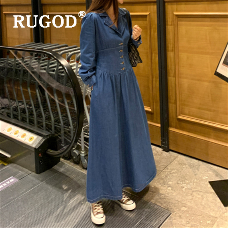 RUGOD Retro Denim Midi Dress  Collect Waist Jeans Dresses Elegant Simplee Apparel Plus Size Tops Full Sleeves Top For Women