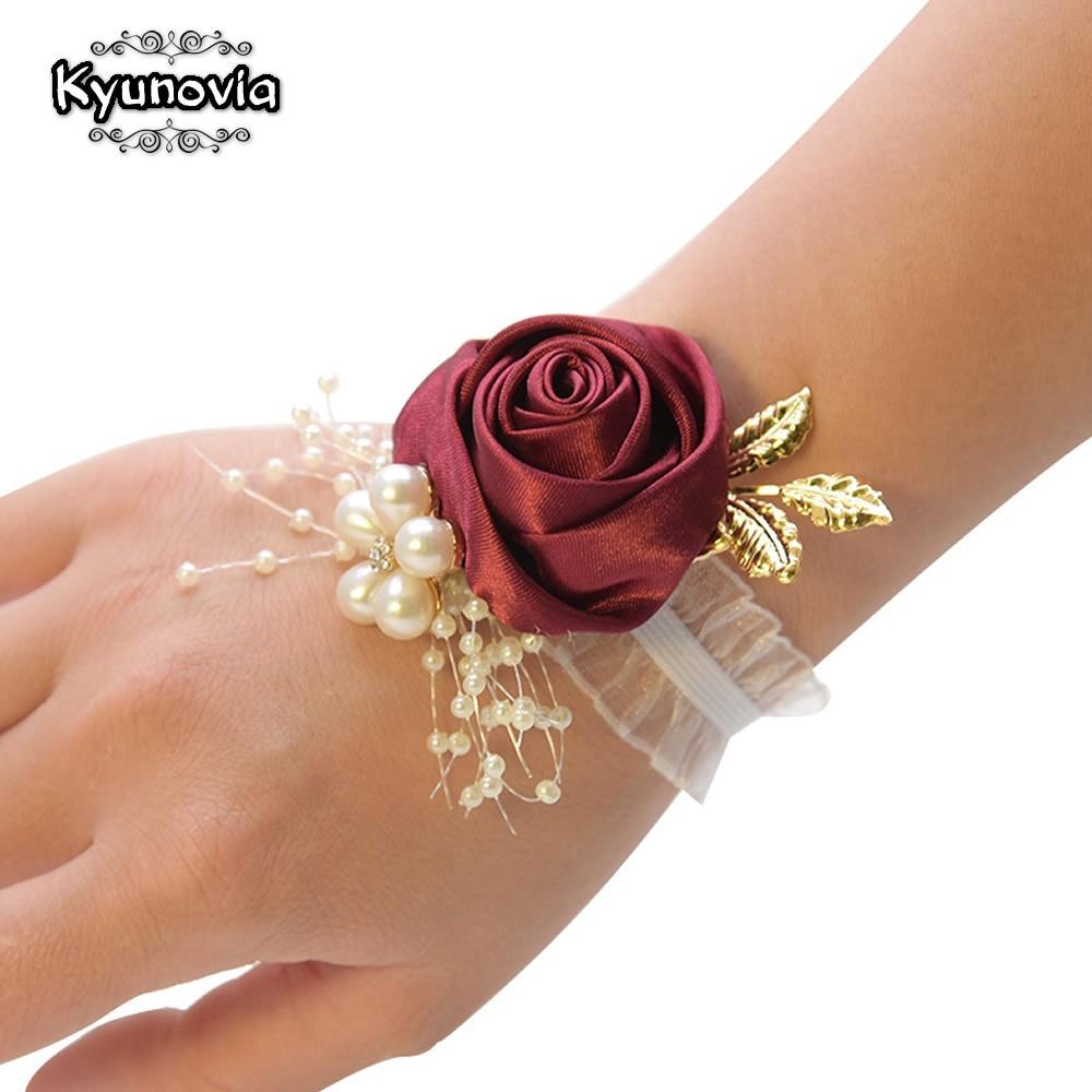 Kyunovia Bridesmaid Bracelet Wedding Corsage Bracelet Polyester Ribbon Rose Flowers Pearl Bow Bridel Gifts Wrist Corsage BY53