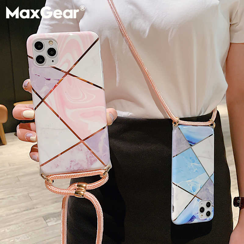 Plating Geometric Marble Case+Crossbody Lanyard For iPhone 12 11 Pro Max XS SE 2020 X XR 8 7 Plus Hang Neck Strap Soft TPU Cover