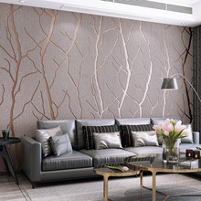 Modern simple line deerskin wallpaper thickened non woven fabric bedroom living room background wall 3D Wallpaper W152