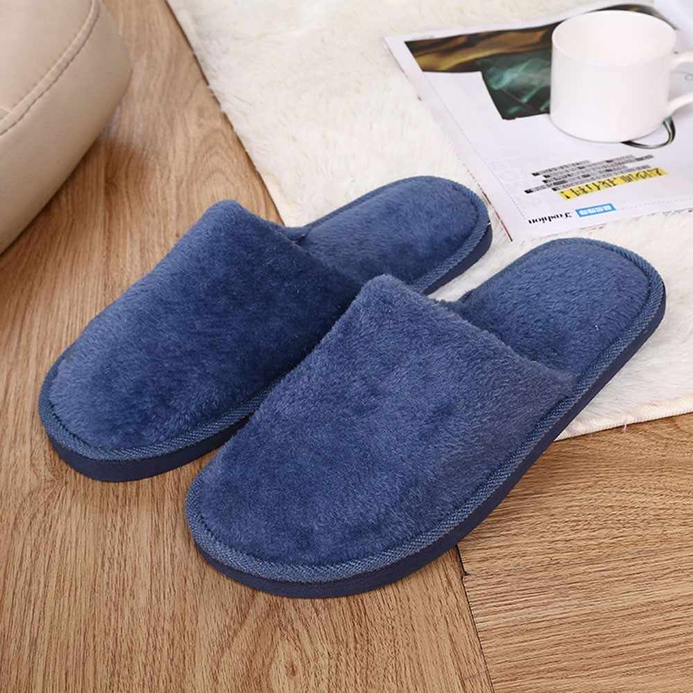 Slippers Mannen Winter Fleece Huis Schoenen Vloer Liefhebbers Thuis Schoenen Warme Zachte Flats Solid Mannen Schoenen Indoor Slip-On schoenen # YL5