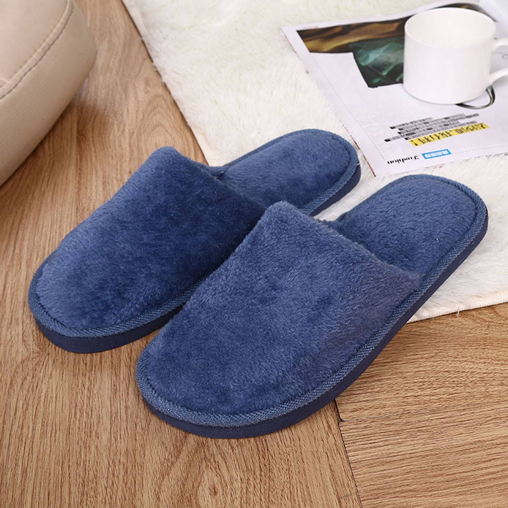 Slippers Men Winter Fleece House Shoes Floor Lovers Home Shoes Warm Soft Flats Solid Men Shoes Indoor Slip-On Shoes #YL5(China)