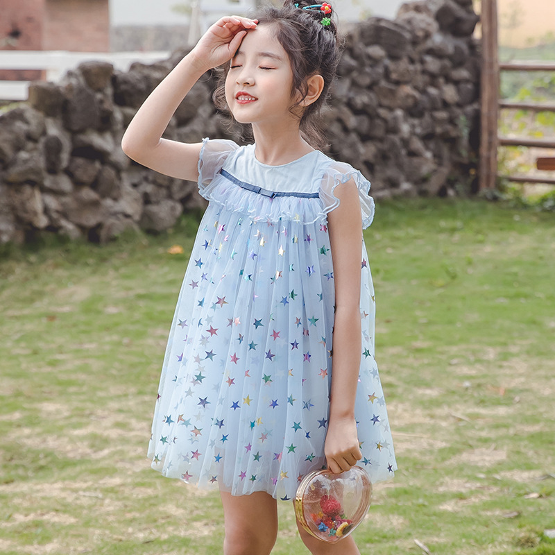 2020 Summer Baby Girls Dress Fashion Children's Wear Girls Cute Sleeveless Stars Princess Mesh Frocks Kids Clothing For Party 1