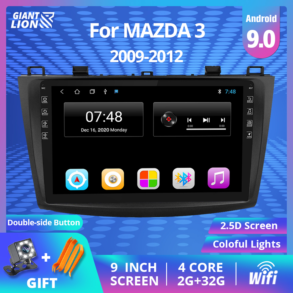 2DIN Android 9.0 IPS Auto Radio Car Multimedia For <font><b>MAZDA</b></font> <font><b>3</b></font> <font><b>2009</b></font> 2010 2011 2012 GPS Navi Navigation BT Stereo Audio DVD Player image