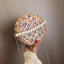 Fashion Ladies Bag/Round Straw Bag Handbags/Pearl Shoulder Messenger