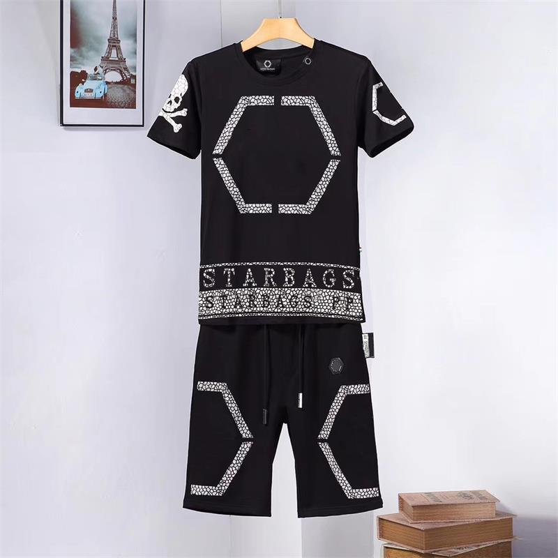 Starbags PP2020 Summer Fashion New Diamond Skull Screen Cool Personality Short Sleeve T-shirt Shorts Men's Suit Original High Qp