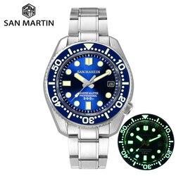 San Martin, новые часы для ныряльщиков, Мужские автоматические механические часы, сапфировое стекло, керамический ободок, окно даты, светящееся, ...