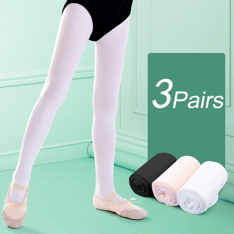 Kids Girls Dance Tights Black White Pink Women Stockings Ballet Microfiber Pantyhose 3 Pairs 80D