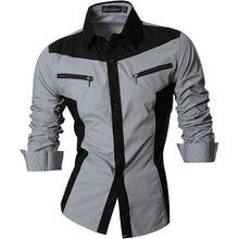 Jeansian Mens Casual Dress Shirts Fashion Desinger Stylish Long Sleeve Slim Fit Z018 Gray
