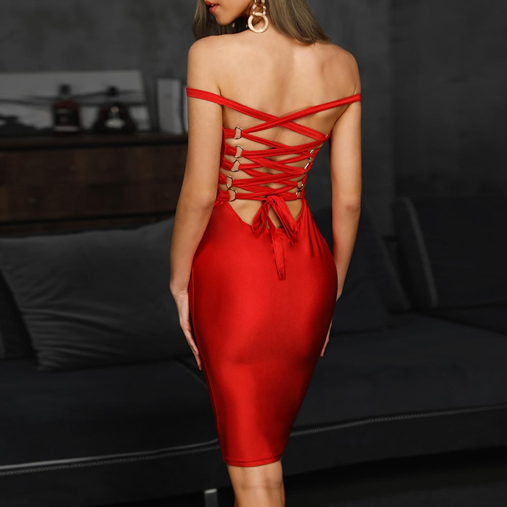 Ocstrade Bandage Rayon Dress Autumn Women 2019 New Lace Up Sexy Bandage Dress Red Backless Bodycon Night Club Party Dresses