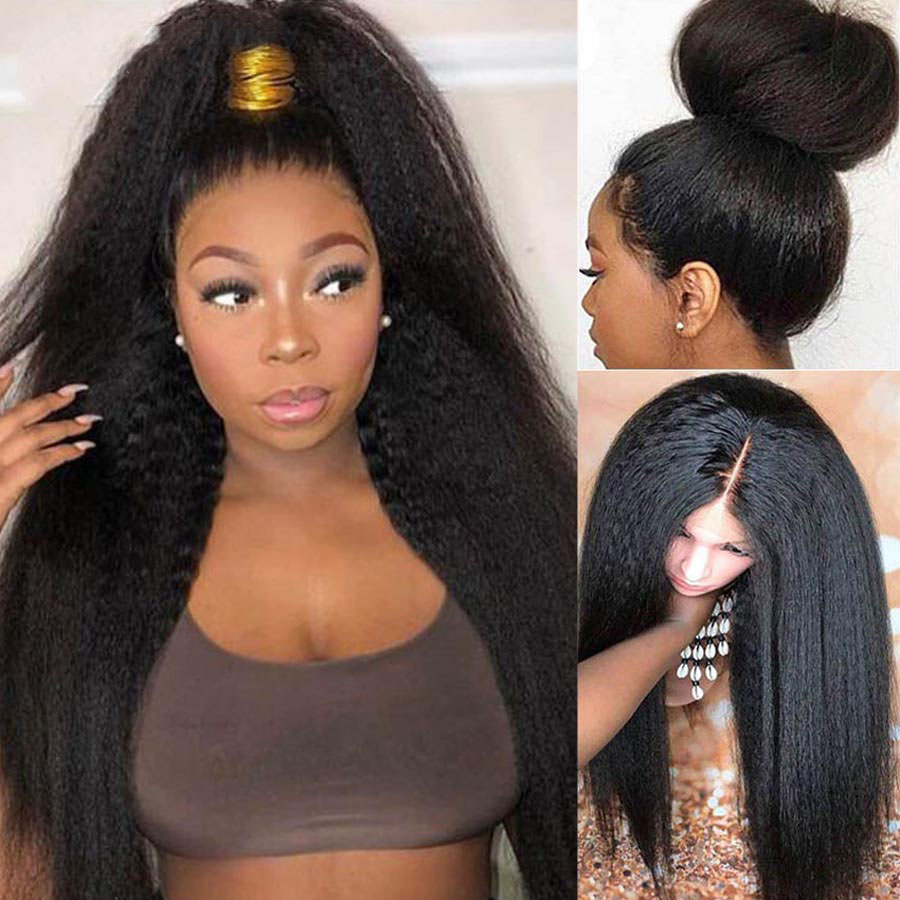 Kinky Straight Wig BEAUDIVA13*4 Lace Front Human Hair Wigs Pre Plucked Remy Yaki Lace Wig 4x4 Lace Closure Wig For Black Women