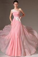 Pink Evening Dresses 2019 A line One shoulder Chiffon Appliques Beaded Long Dubai Saudi Arabic Evening Gown Prom Dresses