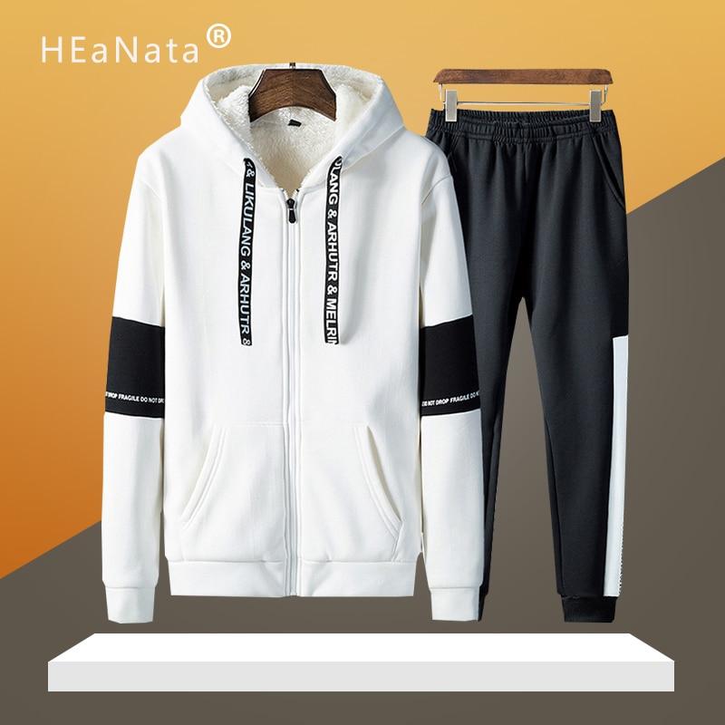 Patchwork cálido traje deportivo hombre interior de lana dos piezas conjuntos con capucha sudaderas con capucha pantalones de chándal FItness ropa de entrenamiento ropa deportiva hombres
