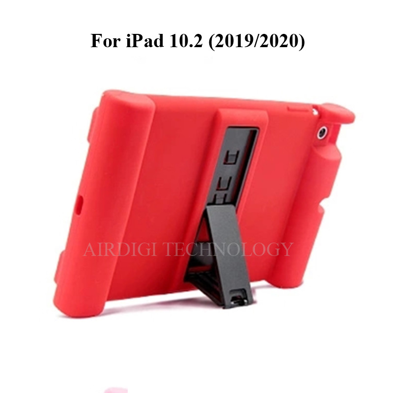 red Red Soft Shockproof Silicone Cover Kickstand Case for iPad 10 2 A2198 A2200 A2197 A2270 A2428 A2429