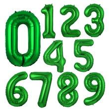 Ballons numériques à feuille verte 32 pouces, à hélium, 0 1 2 3 4 5 6 7 8 9, fournitures de décoration pour fête d'anniversaire et mariage