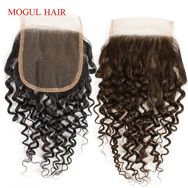 Brazilian Jerry Curly Brazilian Hair 4x4 Lace Closure Hand Tied Natural Black Dark Brown Non Remy Human Hair Extension