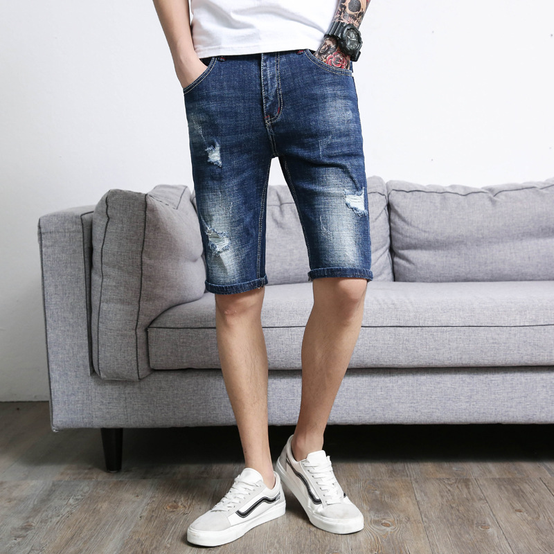 Summer New Style Men Cowboy Shorts Trend With Holes Casual Straight Slim Elasticity Jeans Men's