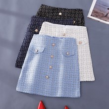 Spring High Waist Bodycon Sexy Plaid Mini Skirt Women Button Front A Line Zipper Back Tweed Office Skirt