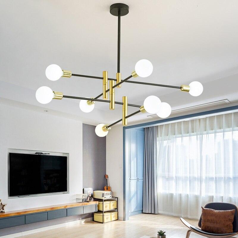 Nouveau moderne nordique noir lustre éclairage LED 8 lumières lustres intérieur luminaire non inclus ampoules éclairage domestique 2019