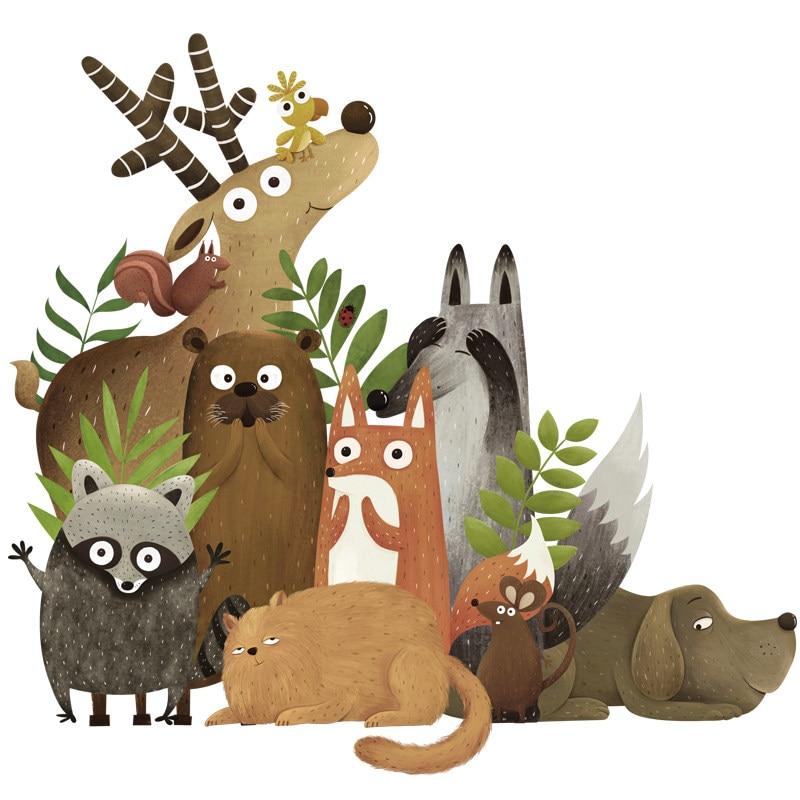 Купить с кэшбэком Forest Animals Elk Fox Rabbit Wall Stickers for Kids Room Children Wall Decal Nursery Bedroom Decor Poster Mural Art