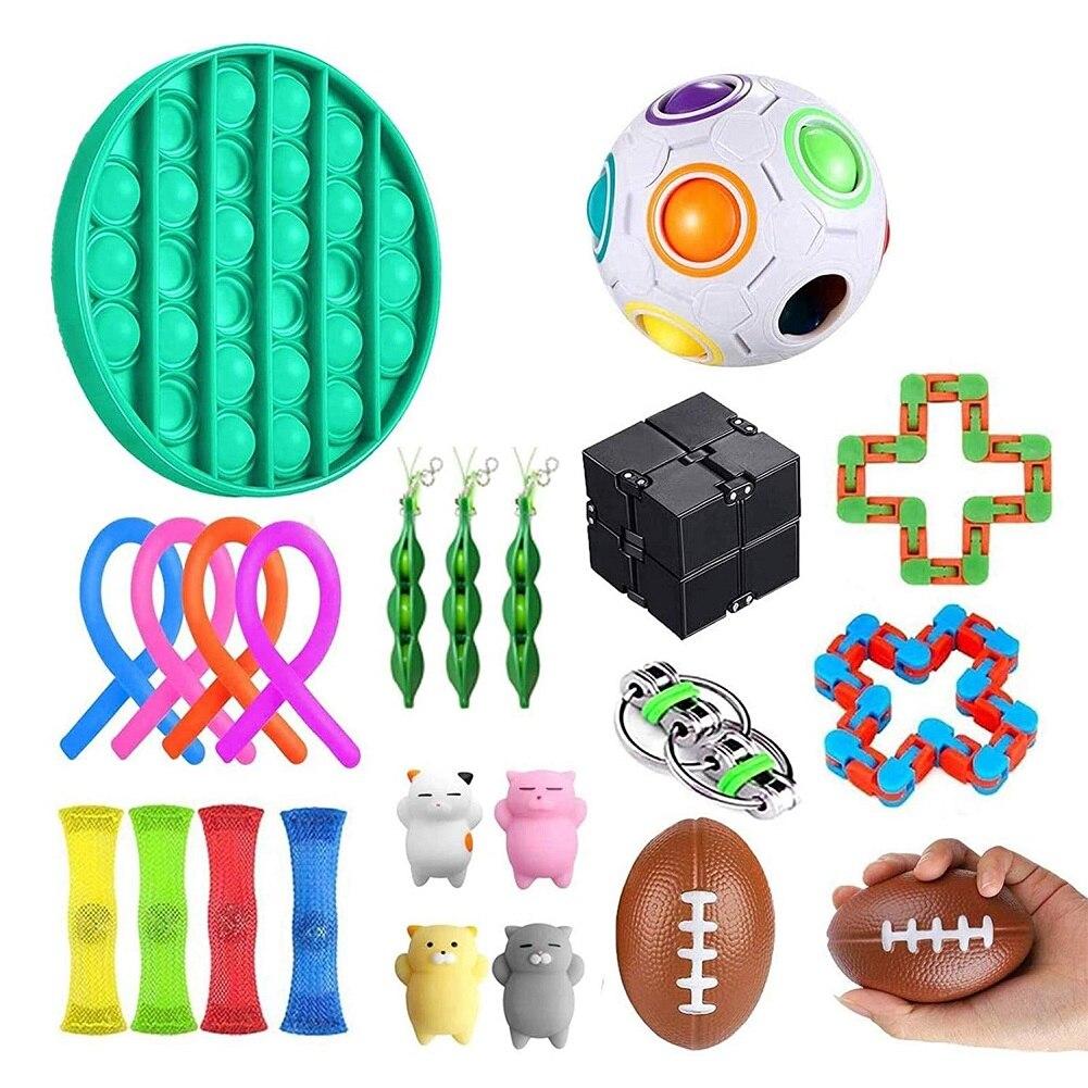 20/24 pièces/ensemble Fidget ensemble de jouets sensoriels soulagement du Stress jouets autisme soulagement de l'anxiété Stress Pop bulle Fidget jouet sensoriel pour enfants adultes