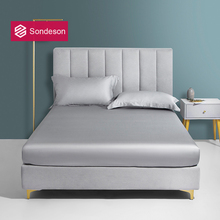 Sondeson Top Grade 100 Silk Gray Fitted Sheet Queen King Bed Sheets With Elastic Band Mattress