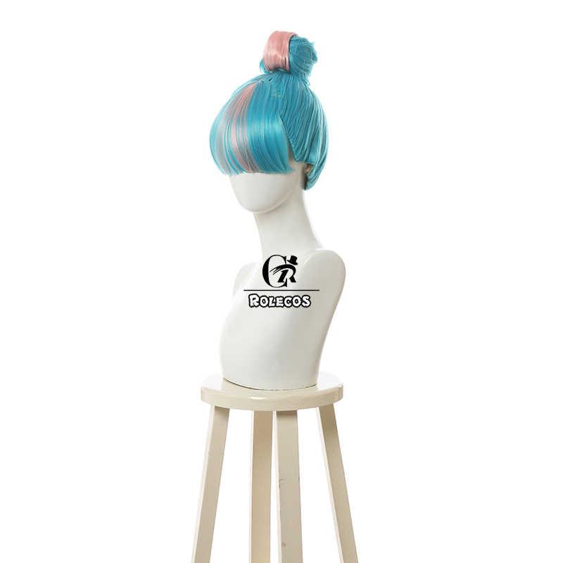 ROLECOS Игра LOL Qiyana Косплей волосы LOL True Damage Qiyana Косплей волосы с челкой головные уборы синие синтетические волосы для женщин