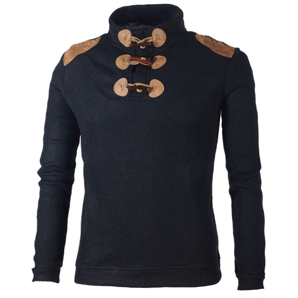 Men Slim-fits Collar Long-sleeved Button Knitted Sweatershirt Men Casual Sports Pullover  HSJ88