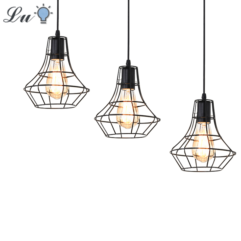 LED Pendant Light Nordic Retro Originality Hanging Lamp Industrial Wind Loft Restaurant Kitchen Iron Art Lighting Fixtures