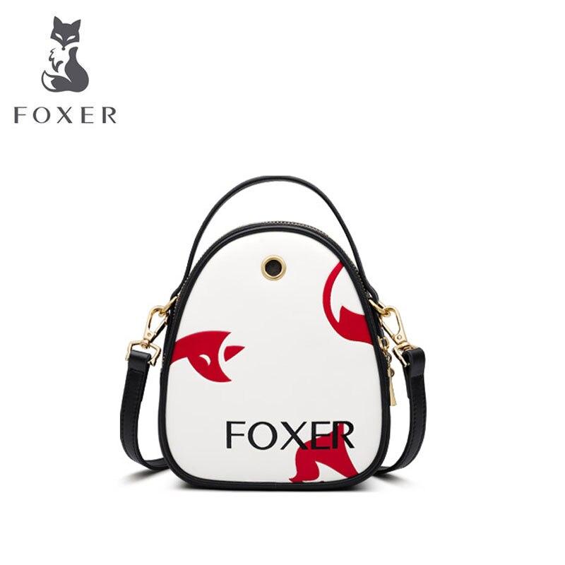 FOXER femmes sac en cuir mode épaule sacs à bandoulière pour femmes sac en peau de vache sacs de créateurs célèbre marque femmes sacs