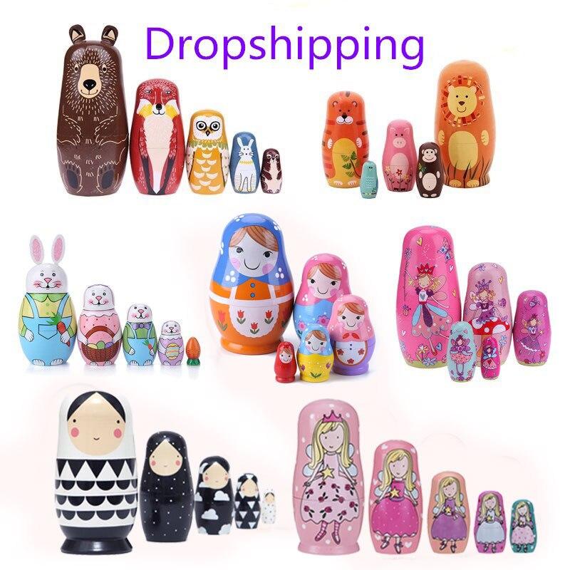 1 Conjunto de madera de ruso muñecas anidadas Matrioska muñecas Babushka pintado a mano oso Poupee al ruso para los niños regalos hecha a mano muñeca casa Decoración