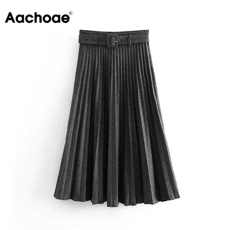 Women Pleated Skirt Autumn Winter High Waist Belt Solid Color Zipper Lady Skirts Elegant Female Saias Loose Mid-length Skirt