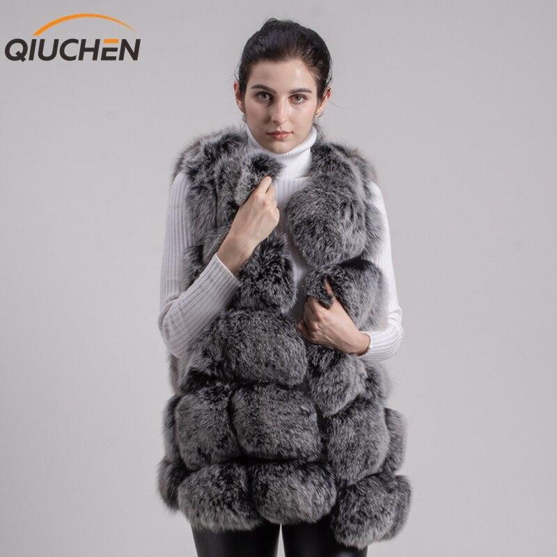 QIUCHEN PJ8046 BIG SALE FRETE GRÁTIS maior de pele new fox natural fur vest longo real fox fur gilet inverno alta qualidade mulheres fox
