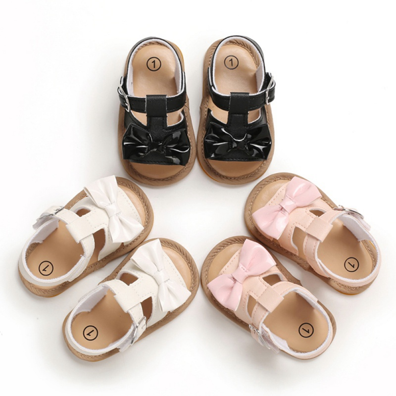 Baby Girls Shoes PU Leather Buckle First Walkers With Bow Soft Soled Non-slip Crib Shoes