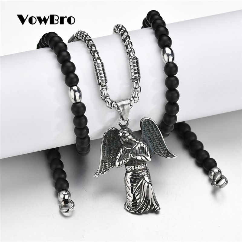 VowBro สีดำลูกปัดคาทอลิกคาทอลิก Holy Communion เงินสีปีกกางเขนมุมจี้สร้อยคอ gift nice