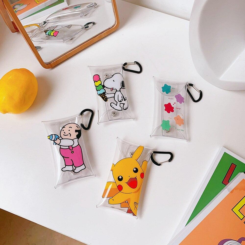 Mini Portable Bag Simple Cartoon Change Wallet Lovely Creative Lipstick Coin Pack Headset Storage Bag Pendant Pikachu Snopy(China)
