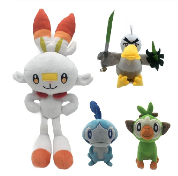 New Year Toy 23-36cm pokemones Sword and Shield Scorbunny Grookey Sobble Stuffed Plush Sirfetch'd Doll Toys Christmas Gift Kids 1