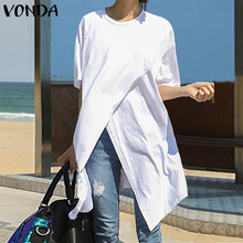 White Tops Women Casual Blouse VONDA 2021 Summer Sexy Short Sleeve O Neck Split Hem Party Shirts Plus Size Blusa Women Tunic