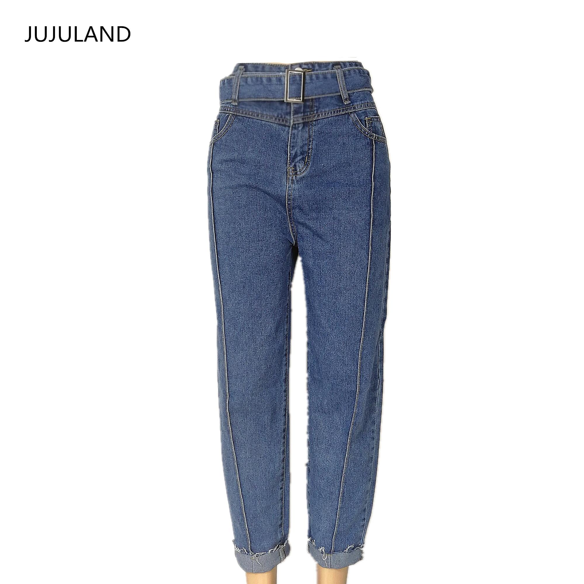 JUJULAND  High Waist Jeans Women Streetwear Bandage Denim Plus Size Jeans Femme Stright-leg Pants Skinny Button Jeans Woman 2009