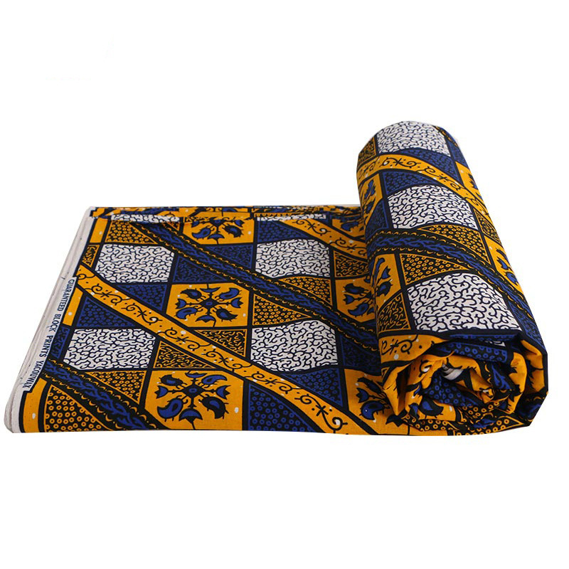 Latest African Wax Fabric Veritable 100% Cotton High Quality Blue And Yellow Print Fabric For Party Dress 6Yards\lot